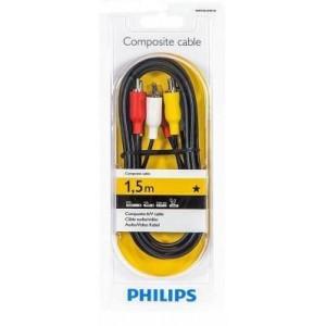 Philips SWV2532W/10 100 Series 1.5m 3RCA - 3RCA Composite A/V Cable