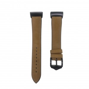 Fitbit Charge 3 Replacement Silicone with Leather Top Strap Band - Light Brown