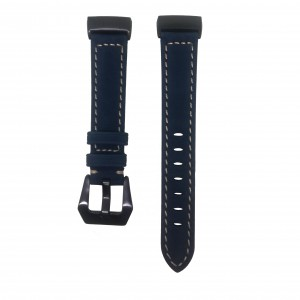 Fitbit Charge 3 Replacement Leather Strap Band - Blue Stitched