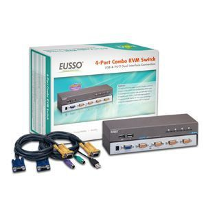 Eusso UKS8104-D4T 4-Port Combo KVM Switch