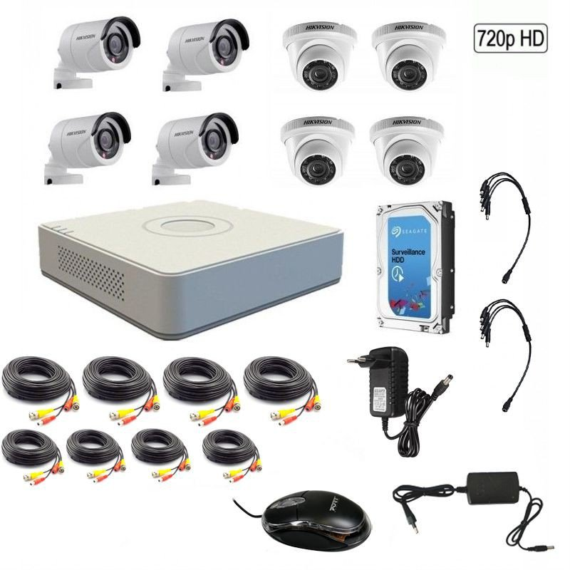 Hikvision 720P 8 Channel Turbo HD CCTV Kit w/1TB Hard Drive - 720P - GeeWiz