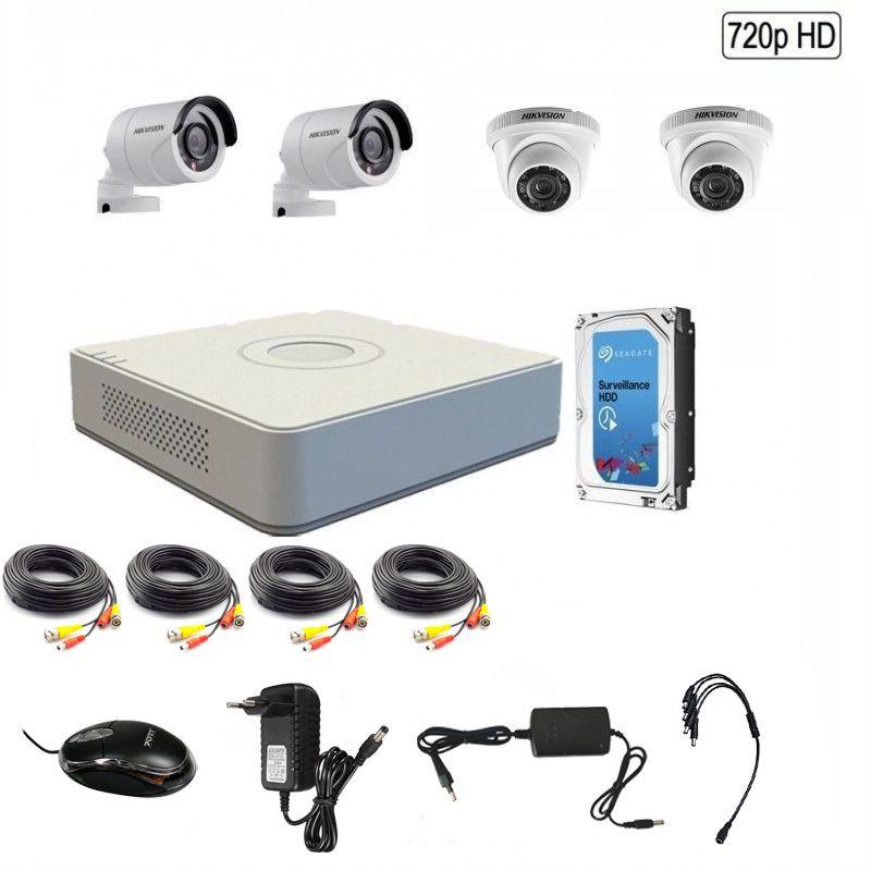 Hikvision 720P 4 Channel Turbo HD CCTV Kit w/1TB Hard Drive - 720P - GeeWiz