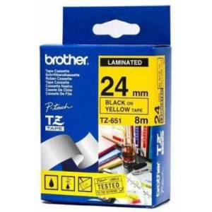 Brother MTZ651 24mm Black On Yellow Laminated Tape - 8m