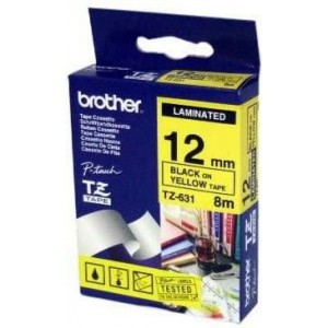 Brother MTZ631 12mm Black On Yellow Laminated Tape - 8m