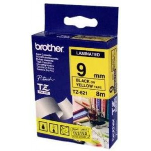Brother MTZ621 9mm Black On Yellow Laminated Tape - 8m
