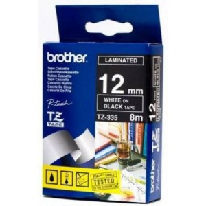 Brother MTZ335 12mm White On Black Laminated Tape - 8m