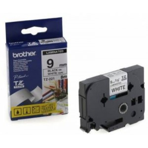 Brother MTZ221 9mm Black On White Laminated Tape - 8m