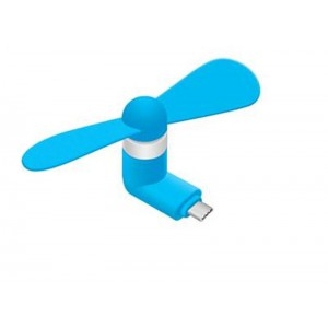 Portable Micro USB-C Fan (works with most Smart Phones with Micro USB) - Blue