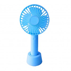 Mini Handheld Fan with Base - 800mAh USB Rechargeable Battery - Blue