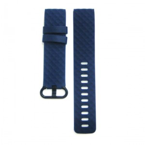 Fitbit Versa Silicone Watch Strap with Plastic Buckle (Large) -Navy Blue