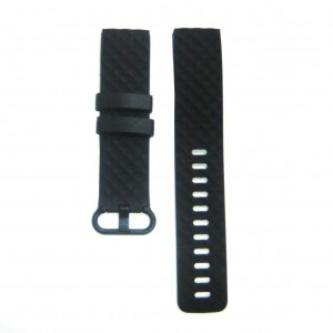 Fitbit Versa Silicone Watch Strap with Plastic Buckle (Large) -Black