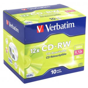 Verbatim M43148 CD-RW 8X12X 700MB Jewel Case