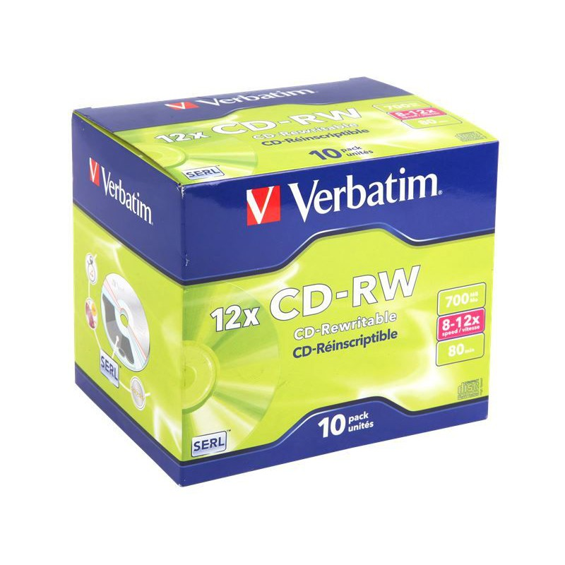Verbatim M43148 CD-RW 8X12X 700MB Jewel Case