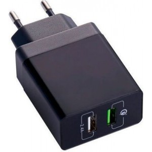 Tuff-Luv E2_137 Dual Port USB Wall Charger with Qualcomm Quick Charge - Black
