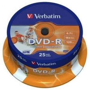 Verbatim M43538 DVD-R Wide Photo Printable 25 Pack Spindle