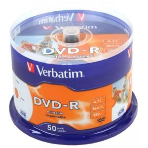Verbatim M43533 DVD-R Printable 16X 50 Pack Spindle