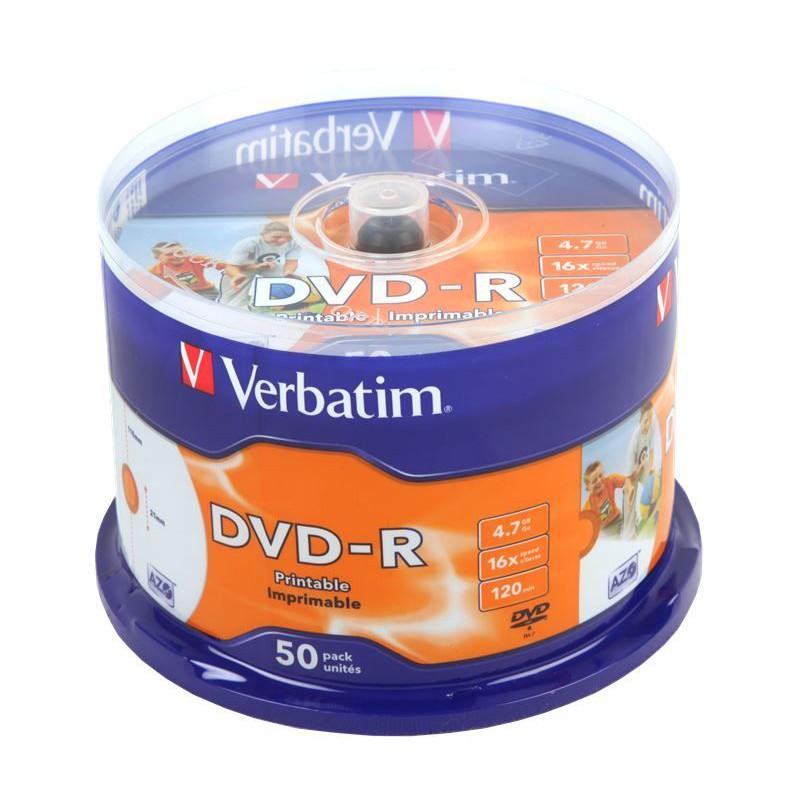 image about Verbatim Dvd R Printable known as Verbatim M43533 DVD-R Printable 16X 50 Pack Spindle
