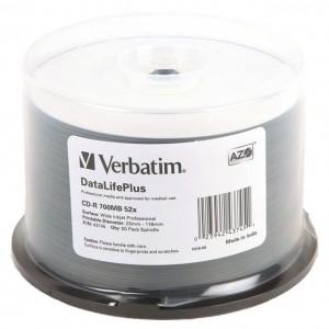 Verbatim M43745 CD-R 700MB 52X Wide White Printable 50 Pack Spindle