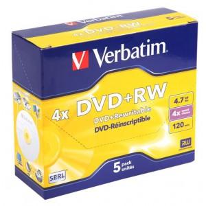 Verbatim M43229 DVD+RW Matt Silver 4X (Jewel Case)