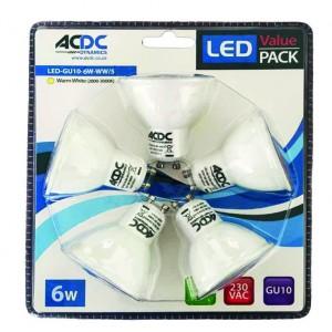ACDC LED-GU10-6W-CW/5 230VAC 6W GU10 Cool White Down Light /5 Pack