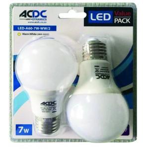 ACDC LED-A60-7W-E27-WW/2 230VAC 7W Warm White A60 E27 LED Lamp /2 Pack