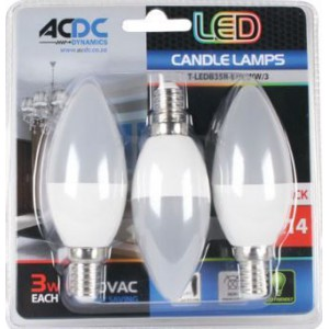 ACDC T-LEDB35R-E14-WW/3 230VAC Warm White LED Candle Lamp 3W E14 /3 Pack