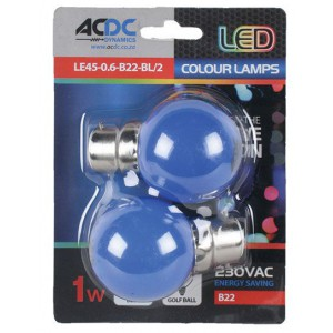 ACDC LE45-0.6-B22-BL/2 230VAC 1W Blue B22 Lamp Ball Type /2