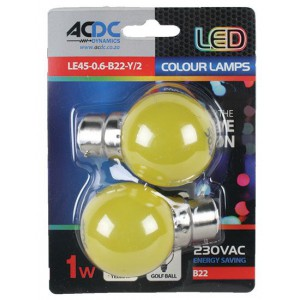 ACDC LE45-0.6-B22-Y/2 230VAC 1W Yellow B22 Lamp Ball Type /2