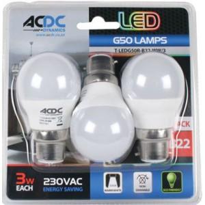 ACDC T-LEDG50R-B22-CW/3 230VAC Cool White LED Golf Ball Lamp 3W B22 /3 Pack