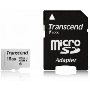 Transcend TS16GUSD300S-A 16GB MicroSDXC/SDHC Class 10 U1 Memory Card with SD Adapter