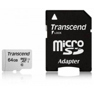 Transcend TS64GUSD300S-A 64GB MicroSDXC/SDHC Class 10 U1 Memory Card with SD Adapter