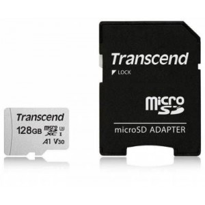 Transcend TS128GUSD300S-A 128GB MicroSDXC/SDHC Class 10 U1 Memory Card with SD Adapter