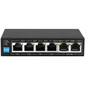 Scoop SPS-4F2F 6 Port Fast Ethernet Switch with 4 AI PoE Ports and 2 FE Uplink