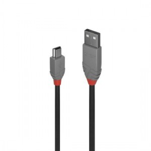 Lindy 36725 5m USB 2.0 Type A to Mini-B Cable, Anthra Line