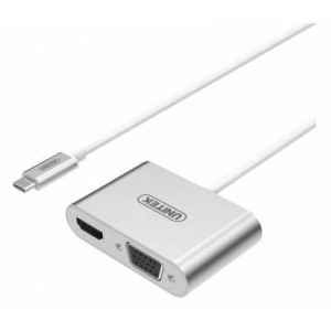 Unitek Y-V100SL USB 3.1 Type-C to HDMI & VGA Convertor - Silver