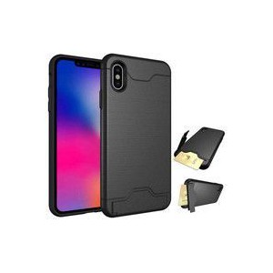 Tuff-Luv A9_65 Shockproof Dual Armour Case Stand and Card Slot for Apple iPhone X and XS - Black