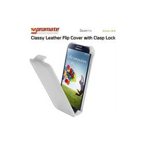 Promate 6959144000572 Alma-S4 Classy Leather Flip Cover with Clasp Lock for Samsung Galaxy S4-White