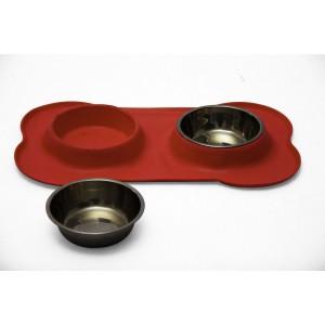Rex - Non-Slip S/S Double Pet Bowl - Red