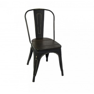 Retro Metal Chair - Metal finish Wood Seat