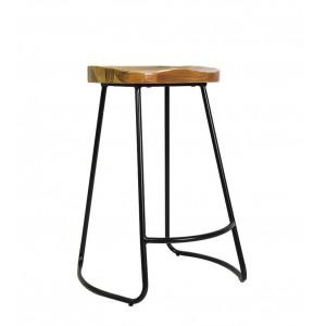 Retro Barstool  - Wood Seat Metal frame