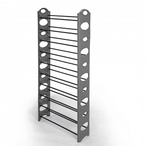 Fine Living - 10 Tier Shoe Rack - Grey/Black