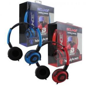 Bounce BO-2001-RDBK Swing Series Headphones with Mic - Red/Black
