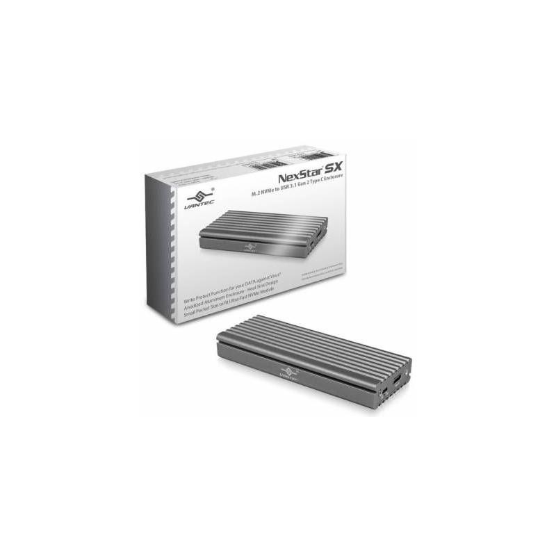 Vantec NST-205C3-SG Silver USB3 1 Gen 2 Type C M 2 PCIe NVME SSD Enclosure