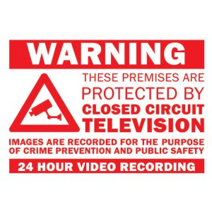 CCTV Warning Sign with Adhesive Tape