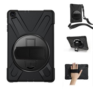 """Tuff-Luv M916 Rugged Armour Case (Shoulder & Hand Strap) For Samsung 10.1"""" T510/T515 - Black"""