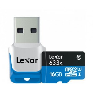 Lexar 16GB microSDHC with USB3.0 Reader Class 10