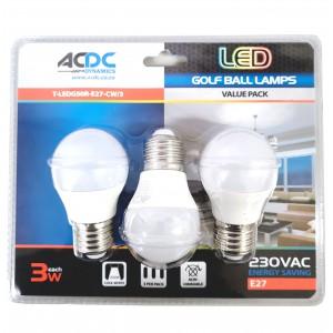 ACDC T-LEDG50R-E27-CW/3 230VAC Cool White LED Golf Ball Lamp 3W E27 /3Pack