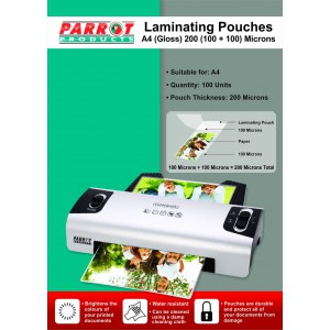 PARROT LAMINATING POUCH A4 220X310 200(100+100)MIC BOX100
