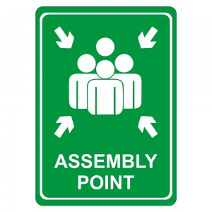 PARROT SIGN SYMBOLIC 297*210MM ASSEMBLY POINT GREEN ON WHITE ACP