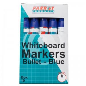 PARROT MARKER WHITEBOARD BULLET BOX 10 D/BLUE